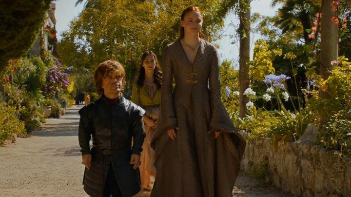 Tyrion and Sansa walk through the gardens