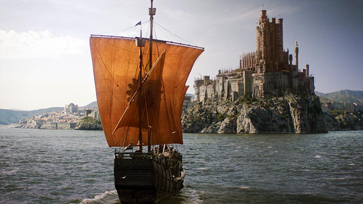 A ship carrying Myrcella's body returning to King's Landing
