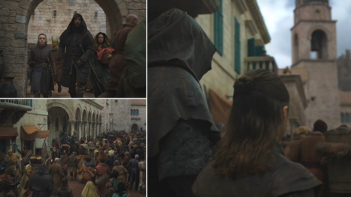 Arya Stark and The Hound walk through the streets of King's Landing