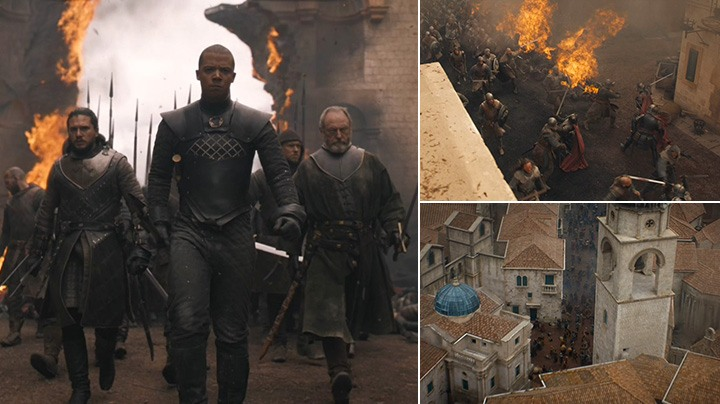 Grey Worm, Jon Snow and their troops enter the city and begin the fight