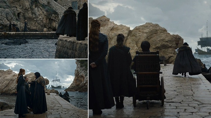 Sansa, Arya and new King Bran meet Jon before he leaves